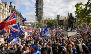Anti-Brexit protesters fill Parliament Square in London on 19 October 2019.