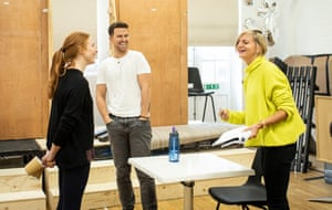 Marianne Elliott, right, with Rosalie Craig and Richard Fleeshman in rehearsals for Company.