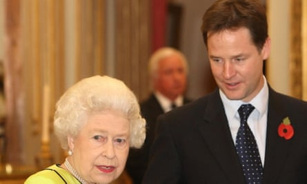 The Queen and former deputy prime minister Nick Clegg