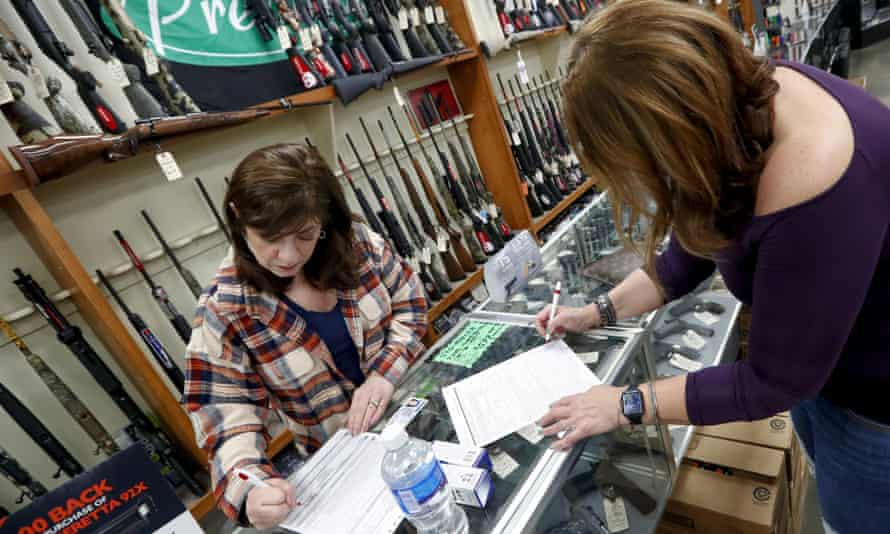 Dukes Sport Shop in New Castle, Pennsylvania, in March. Industry analysts estimate sales of about 3m weapons since March.