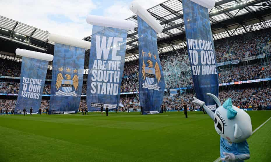A view in 2015 of the then newly constructed South Stand at Manchester City's Etihad Stadium, where rail seats are due to be installed.