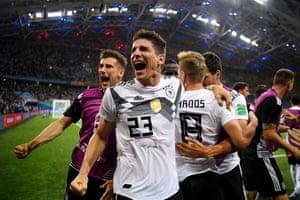The Germans celebrate.