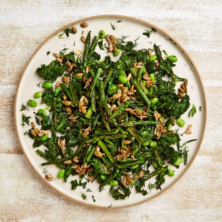 Seeded spears: Yotam Ottolenghi's kale and grilled asparagus salad.