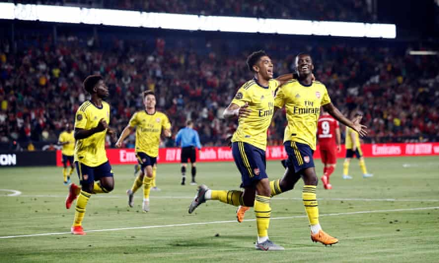 Eddie Nketiah (right) celebrates his winner against Bayern Munich with Tyreece John-Jules, who set him up with a fine bit of play.