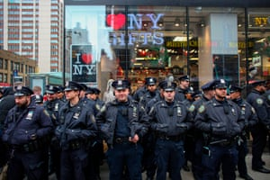 NYPD officers gather.
