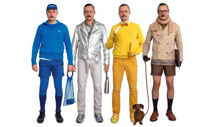 Monoclo man in blue, silver, yellow and brown outfits