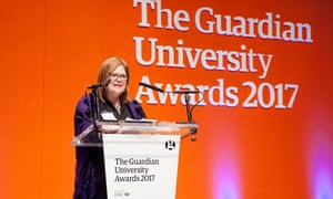 Guardian universities editor Judy Friedberg opens the Guardian University Awards 2017 held at LSO St Luke's in Old Street, London. 29 March 2017