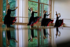 Armstrong, second left, attends a lesson at the Bolshoi Ballet Academy in Moscow, Russia.