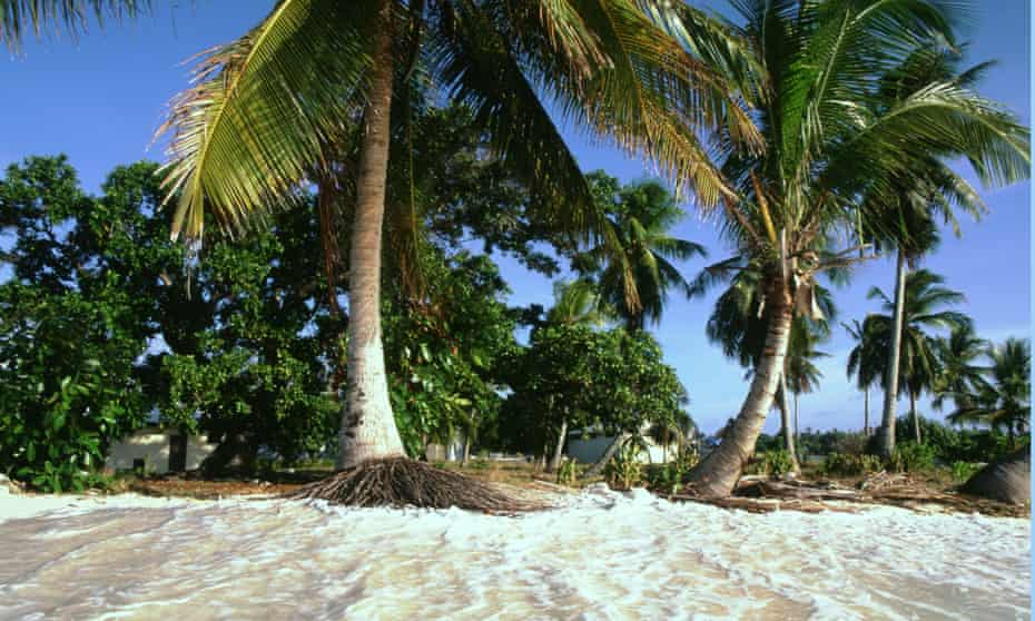 Likiep atoll coastline on the Marshall Islands is under threat from rising sea levels due to global warming.