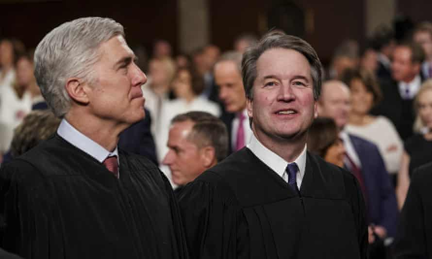 Supreme court justices Neil Gorsuch and Brett Kavanaugh. 'This outcome was never in doubt. Trump promised to appoint anti-choice judges. He kept that promise.'