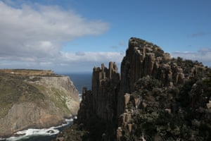 The Blade on Cape Pillar with Tasman Island in the background.