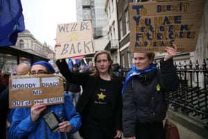 Ant-Brexit supporter gather for a march in central London