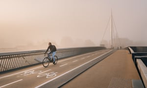 One of Odense's many car-free bridges. Some 50% of all central trips are made by bike.