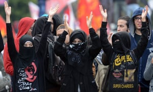 Young members of Egypt's Black Bloc group, who model themselves on western anarchists, in Cairo, February 2013.