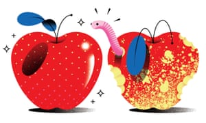 Illustration of a perfect apple next to one that has been eaten by bugs and has a worm burrowed into it