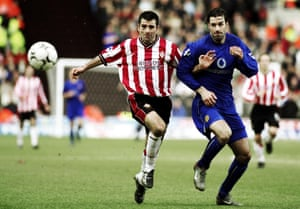 Francis Benali battles with Manchester United's Ruud Van Nistelrooy in 2003.