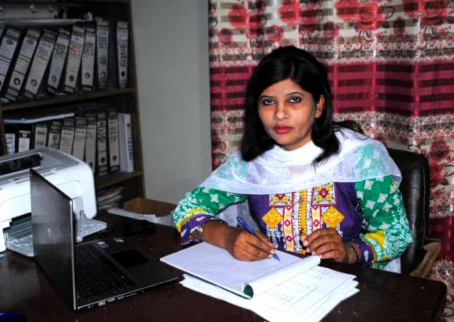 Krishna Kumari in her office in Hyderabad, Pakistan