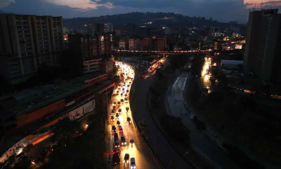 Caracas, Venezuela, as blackout continues. Opposition leader Juan Guaidó slammed the leftist's 'dictatorship' for failing to restore electricity.