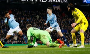 Phil Foden (second right) gets ready to slam the ball home for Manchester City's sixth goal.
