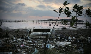 Rubbish along the edge of Guanabara Bay, Rio, the venue for the Olympic sailing events