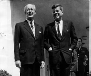 America president John Fitzgerald Kennedy and British Prime Minister Harold Macmillan (1894 - 1986) outside the White House in Washington.