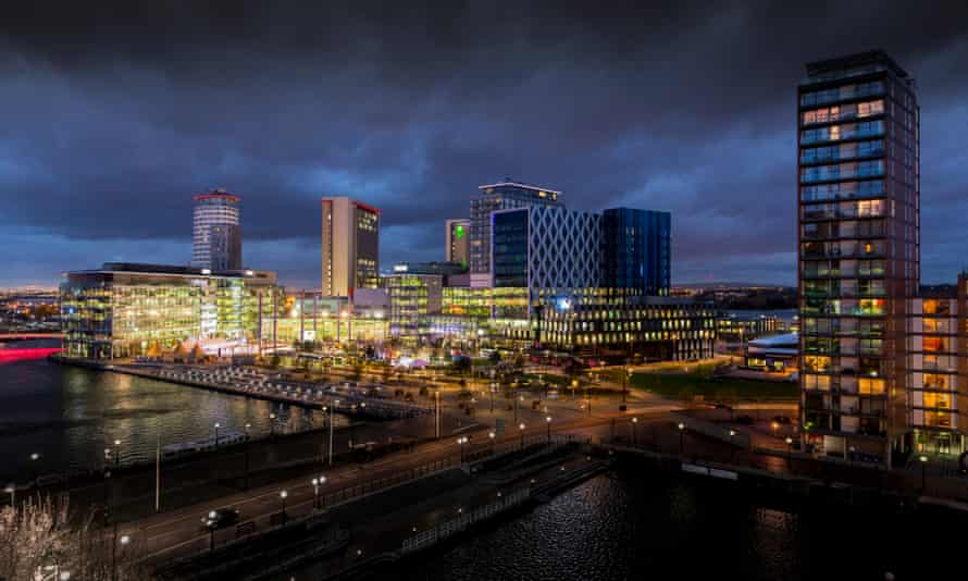 The MediaCity UK skyline at dusk. The apartments, office and studio complex at Salford Quays, Greater Manchester, is home to Salford University, BBC, ITV, the BBC Philharmonic Orchestra and The Lowry arts centre.