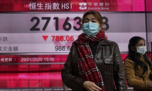Women wearing face masks walk past a bank's electronic board showing the Hong Kong share index.