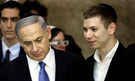 Benjamin Netanyahu with his son Yair in 2015.