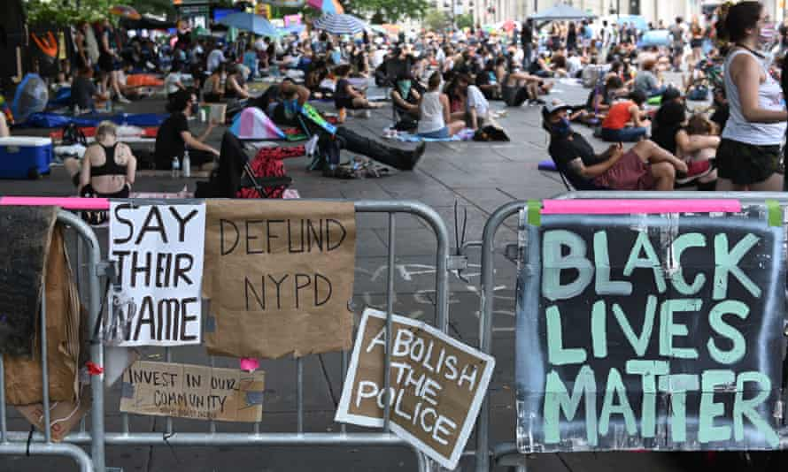 Protestors at Occupy City Hall in New York City Monday.