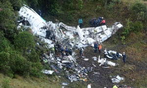 Rescue teams at the scene of the plane crash in Colombia.