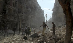 A bomb-blasted street in Aleppo