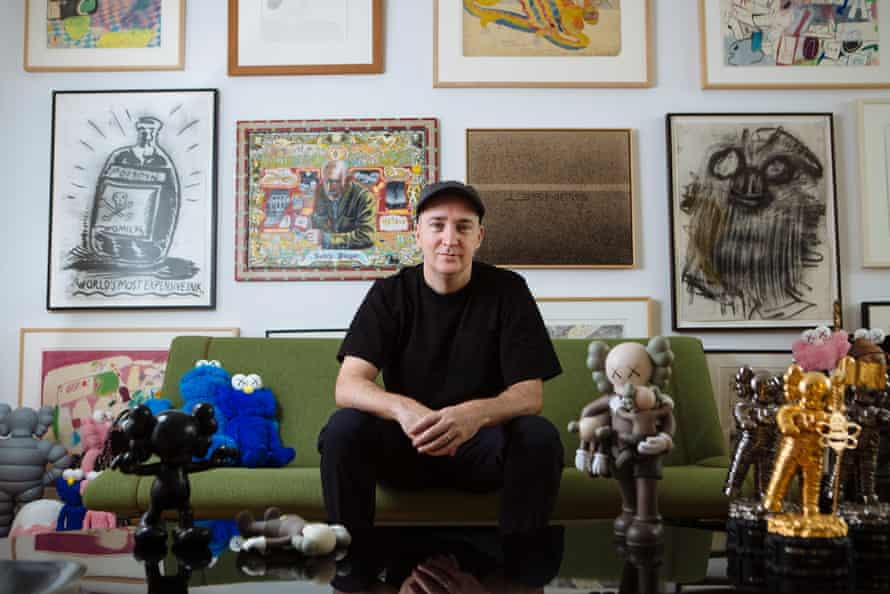 Brian Donnelly amid his private collection – and his own creations.