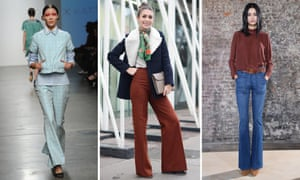 Flares making a comeback in the fashion world in 2015. (left) A model walks down the runway at the Katty Xiomara runway show at Fashion Week in New York City on February 15, 2015; (middle) Diletta Bonaiuti poses wearing a Sandro coat, vintage pants and Hermes clutch on January 17, 2015 in Milan, Italy.(right) A model poses at the Frame Denim presentation during Fashion Week Fall 2015