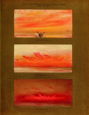William Ascroft's watercolours of vivid sunsets seen from Chelsea, London, in autumn 1883 after the great eruption of Krakatoa in Indonesia. The image is found in a book called The Eruption of Krakatoa and Subsequent Phenomena.
