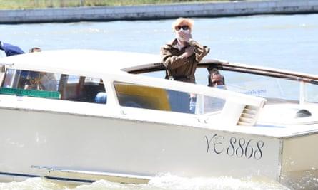Scottish actor Tilda Swinton arriving in Venice on Tuesday.