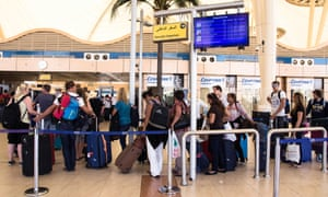 British tourists line up for luggage screening at Sharm el-Sheikh airport