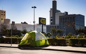 A tent outside Best Buy near 13th Street