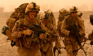 US marines at Toor Ghar in the Helmand province of Afghanistan. American forces have started pulling out of two bases in Afghanistan as peace talks between the government in Kabul and the Taliban were due to commence.