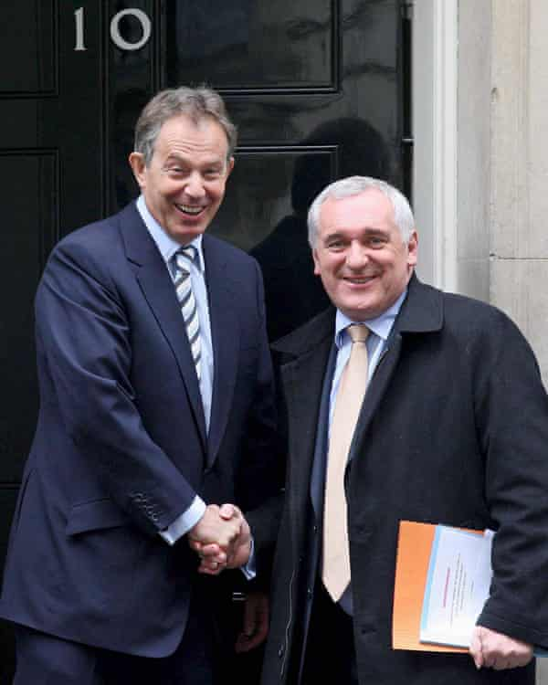 British Prime Minister Tony Blair meets Irish Taoiseach Bertie Ahern in 2007.