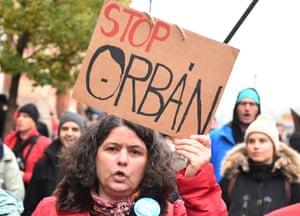 An anti-Viktor Orbán protest in Budapest.