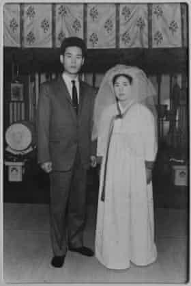 A photograph of Akiko Ota's wedding in 1965. Akiko got married to her Korean husband in a shrine and wore traditional Korean dress.