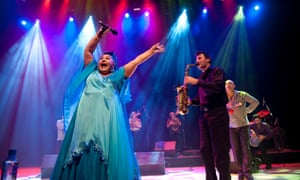 Esma Redzepova on stage with the Legendary Gypsy Queens and Kings at the Royal Festival Hall, London, 2009.
