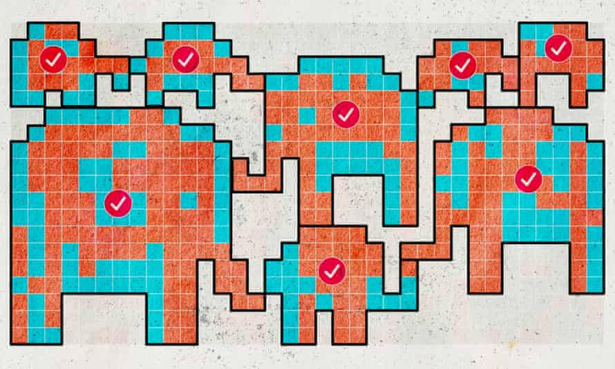 Illustration of gerrymanders that look like elephants
