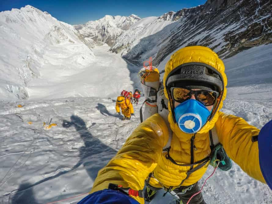 David Göttler, who was climbing without oxygen and had to turn back because of the queues