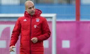 Pep Guardiola at Bayern Munich training on Tuesday.