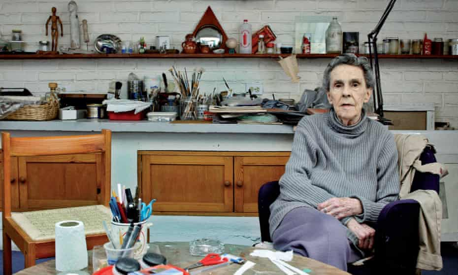 Leonora Carrington in her studio in Mexico City in 2010, the year before her death.