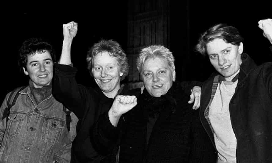 Sally Francis, far right, after the House of Lords protest.