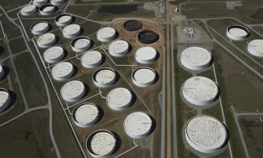 Crude oil storage tanks in Cushing, Oklahoma.