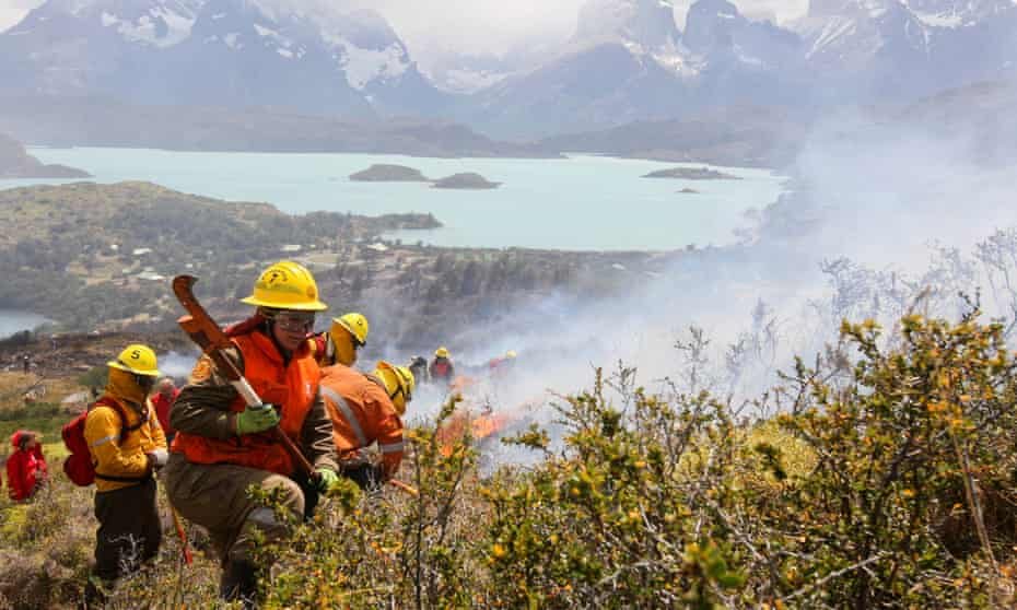 Firefighters at work in Torres del Paine National Park, Chile, in 2012.
