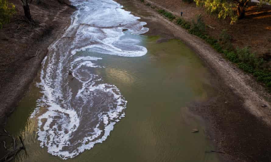 overhead shot green river and sandy banks